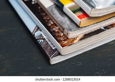 Close up stacking magazine place on table background