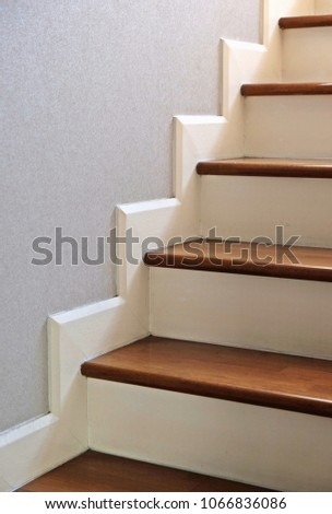 Close Up Of Stairs In House, Steps Of Wood Stair Treads And White Color Of