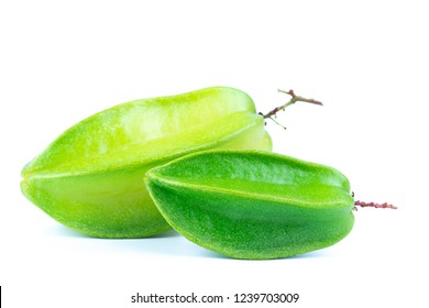 Close up star fruit carambola or star apple ( starfruit ) on white background. Star fruit isolated with healthy food