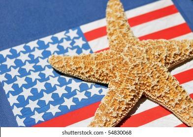Close up of starfish with flag background