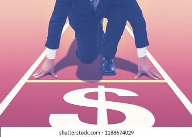 Close up of Start up businessman ready to run at start point,running on forward your career and strategy.Direction to earn money,straightforward to fast business, finance goal concept,copy space.