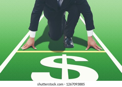 Close up of Start up businessman ready to run at start point,running on forward your career and strategy.Direction to earn money,straightforward to fast business, finance goalconcept,copy space.