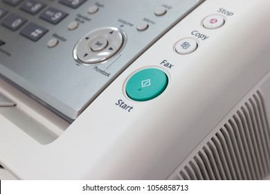 Close up - start button on the fax