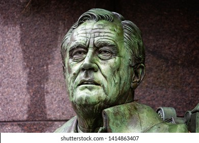Close up of statue of head of Franklin Roosevelt in The Franklin Roosevelt Memorial in Washington DC, USA on 13 May 2019