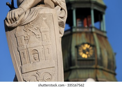 Close up of the statue of Roland.Riga,Latvia,Europe.On background St Peter's church
