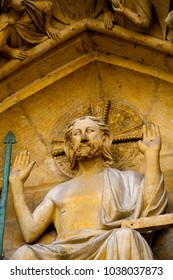 Close up of the statues at the Notre-Dame de Paris, a medieval Catholic cathedral of Paris, France