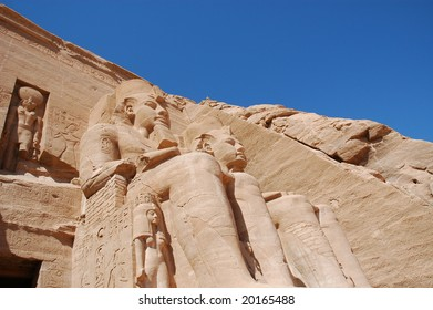 Close up of the statues at the Temple of King Ramses II at Abu Simble