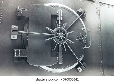 Close up of steel bank vault door, 3D Render