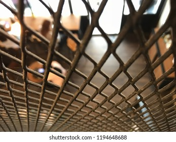 close up steel grating in a cafe