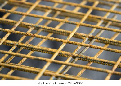 Close up steel mesh prepared for put in concrete construction for add more strength