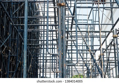 Close up Steel scaffolding on wall