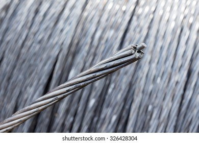 close up of steel wire rope cable.