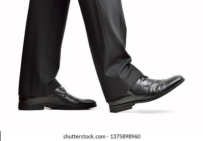 Close up of steps of a businessperson walking with isolated on white background