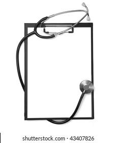 close up of stethoscope  and clipboard on white background with clipping path