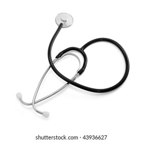 close up of stethoscope  on white background with clipping path