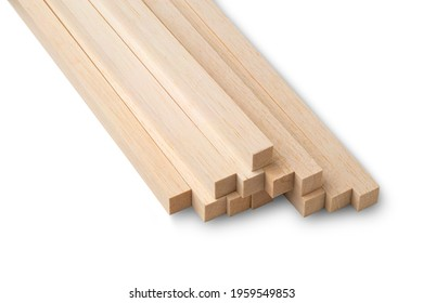 Close up Stick Balsa wood,Soft and lightweight wood isolated on white background with Clipping Path