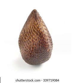 Close Up Still Life of Single Exotic Salak Palm Fruit with Brown Scaly Skin on White Background with Copy Space in Square Image Format