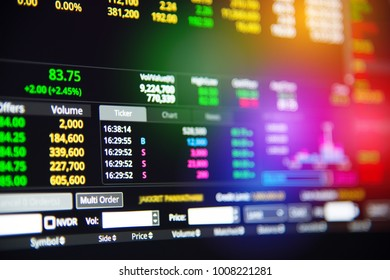 close up stock market chart or stock exchange board data.