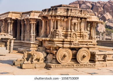 Close up of the stone chariot at Vittala temple in Hampi. This ancient historical monument is from 14th century Vijayanagara kingdom and is a UNESCO world heritage site.