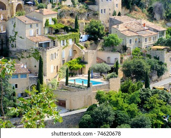 Close up of stone houses in the hill-town of Gordes, France