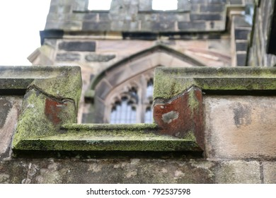 The close up of the stone work on the church of St Wilfrids in Standish, Wigan