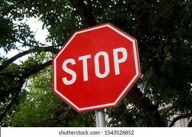 Close up stop sign on the street