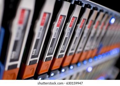 Close up Storage in Disk Shelves on Data Center Server Rack