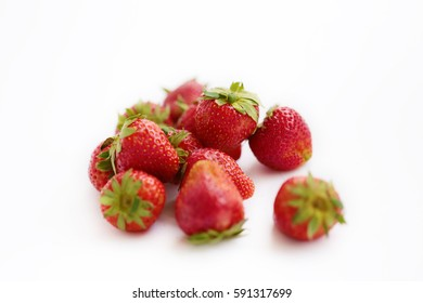 Close up strawberries on white background