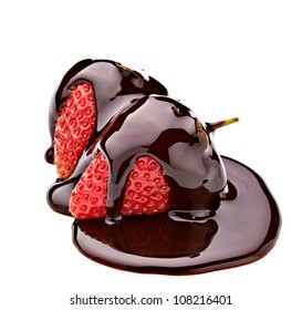 close up of  strawberry and chocolate syrup dessert on white background with clipping path