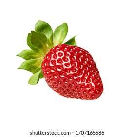 close up of a strawberry on white background