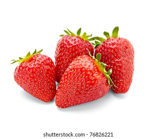 close up of strawberry on white background with clipping path