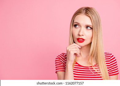 Close up studio photo portrait of beautiful pretty nice glad charming unsure uncertain cute lovely lady making decision looking away aside isolated bright background copy space