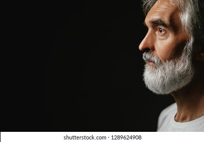 Close up studio portrait of handsome senior man with gray beard.
