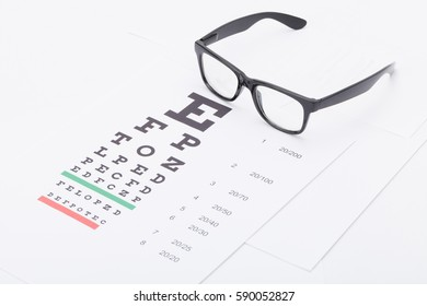 Close up studio shot of a table for eyesight test with neat glasses over it