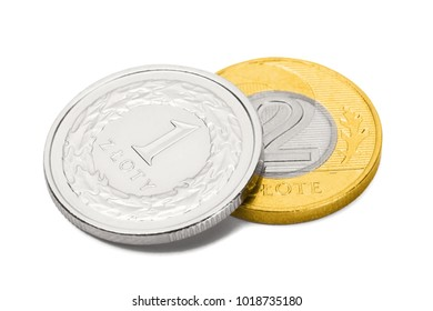 Close up studio shot of two coins representing Polish national currency - Zloty