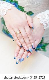 close up of stylish manicure nails