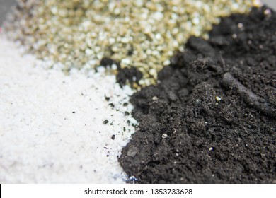 Close up . Substrate for marijuana. A mixture of earth, perlite and vermiculite. The concept of growing medical cannabis in the doore indoor. Soil for growing cannabis.