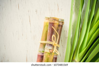 Close up sugar cane on rustic wood table.Brown sugar and cane on wood background.Cane top view.Cane with leave.
