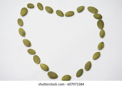 Close up Sunflower Seed in a Heart Shape