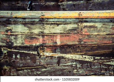 Close up surface of old wooden boat, texture of old shipyard side