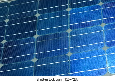 close up of the surface of a solar panel
