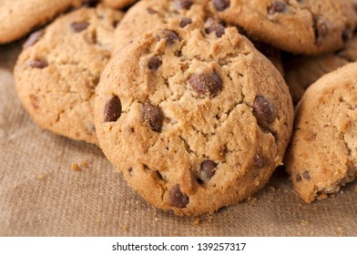 Close up to sweet homemade chocolate cookies