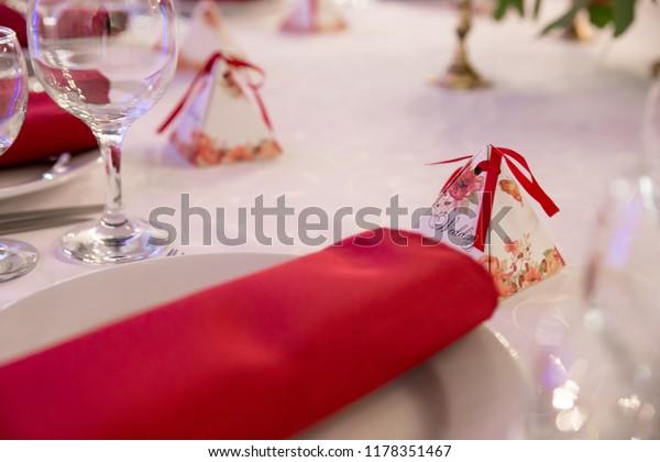 Close Table Decor Wedding Ceremony Table Stock Photo Edit