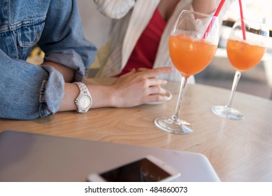 close up of a table with drinks on it
