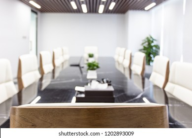 Close of up table with equipment in conference room
