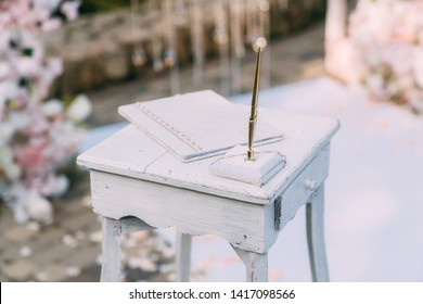 Close up table for wedding registration. Wedding day, marriage.