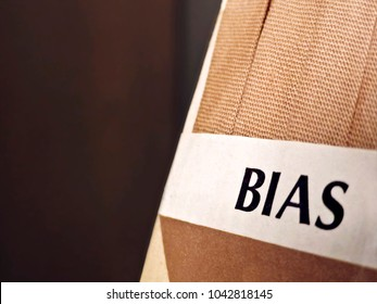 "Close up of Tan Color Bias Tape with Label that says ""Bias"""
