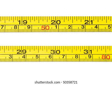 A close up of tape measures reading 20 and 30. Isolated on white. Age or weight concepts