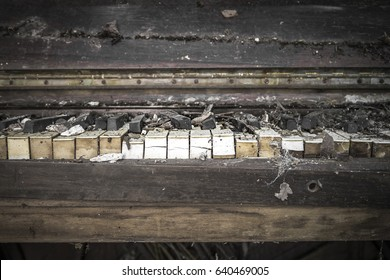 Close up of tattered old abandoned piano in the deep rural south of Georgia
