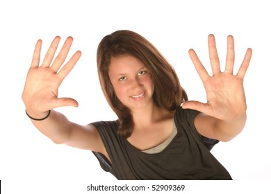 Close up of teen holding up hands